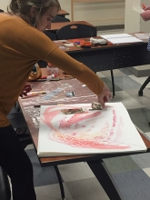 Student working on Visual Journaling Project